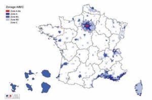 La carte des zones de la loi Pinel 2019